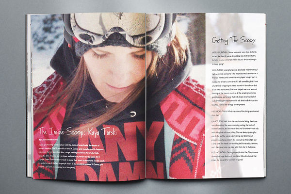 Sample of editorial design for Miss Mounain Magazine.