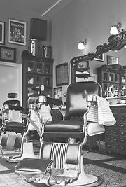 A chair in a barber shop. Image from client project for South Suburban Barber.