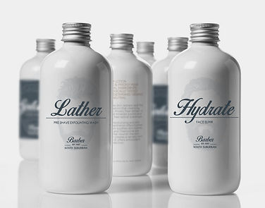 this is a packaging example done for South Suburban Barber.
