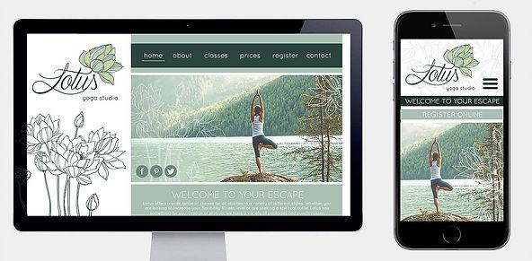 Website & mobile home page designed for Lotus yoga studio.