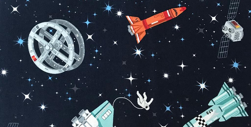 Space and Rockets navy blue fabric by Makower