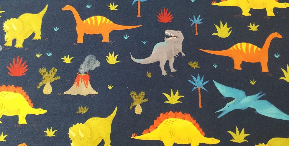 Prehistoric Adventure Dinosaur T-Rex Navy Blue fabric by Robert Kaufman