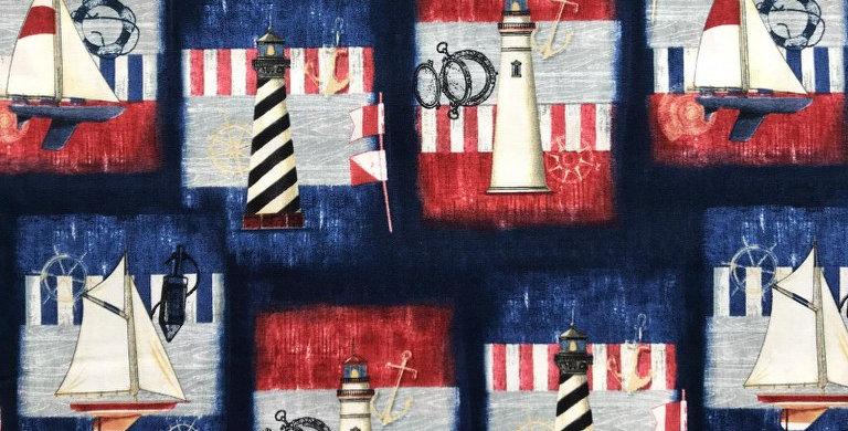 Maritime nautical patchwork navy blue fabric by Robert Kaufman