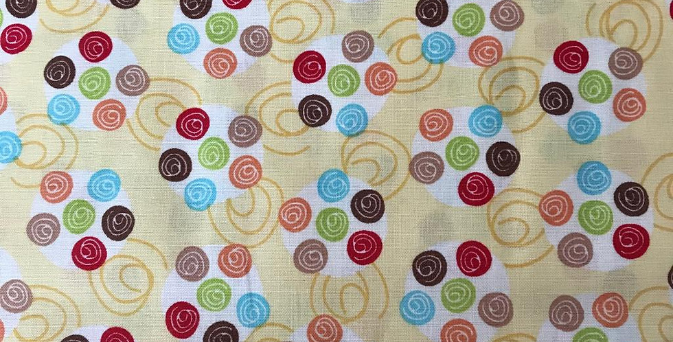 Multicoloured spots on yellow fabric by Robert Kaufman