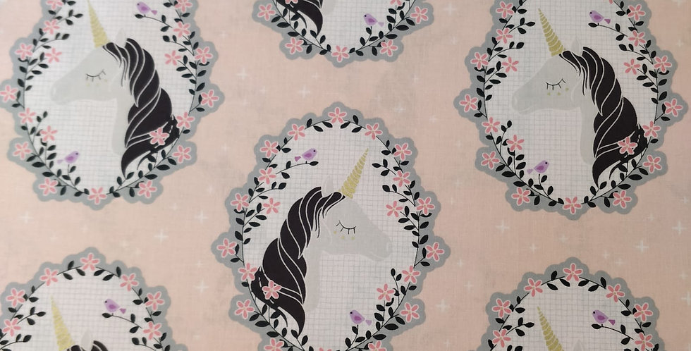 Do You Believe? Unicorn Pink Floral Gold Fabric by Michael Miller