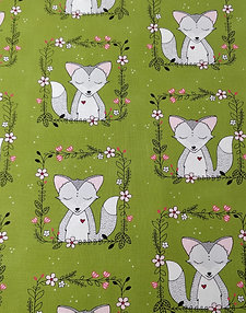 Fox Frames Green Fabric by Michael Miller