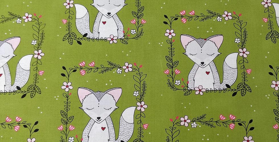 Fox Frames Green Fabric by Michael Miller