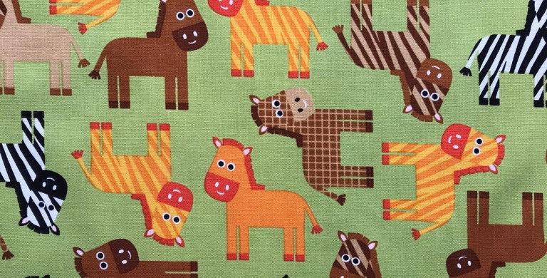 Urban Zoologie Horse, zebra, donkey, giraffe bermuda fabric by Robert Kaufman