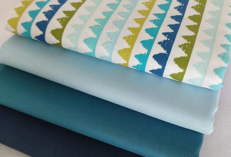 Blue and green fabric bundle 100% cotton fabrics