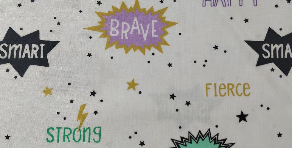 Superhero Goals, Stars, Lightning Bolt White Fabric by Michael Miller