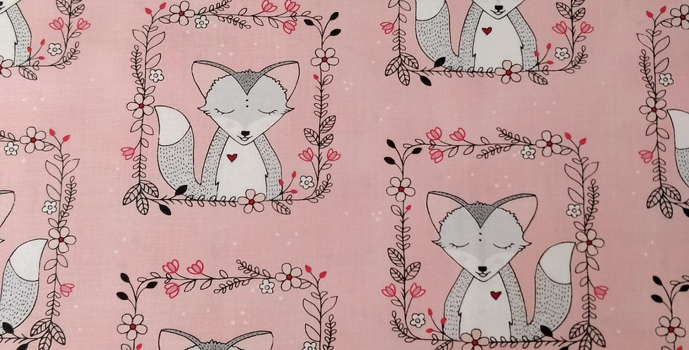 Fox Frames Pink Fabric by Michael Miller