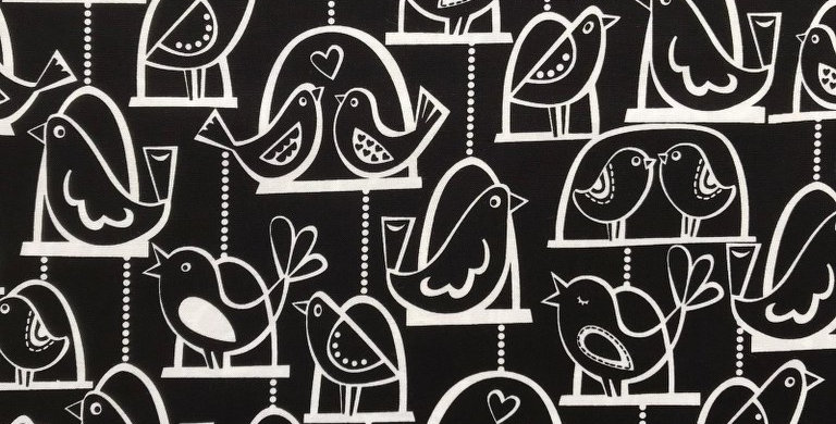 Bird Swing black and white fabric by Michael Miller