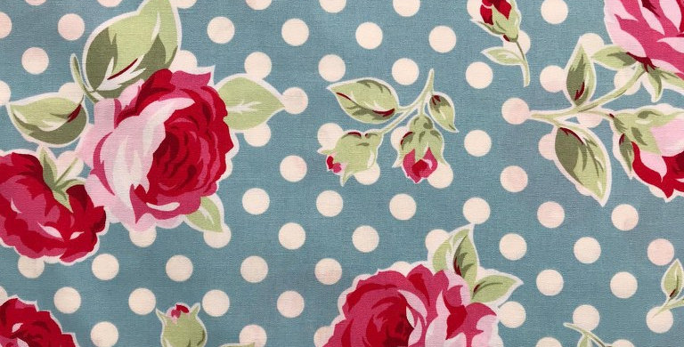 Floral roses spots dots light blue fabric by John Louden