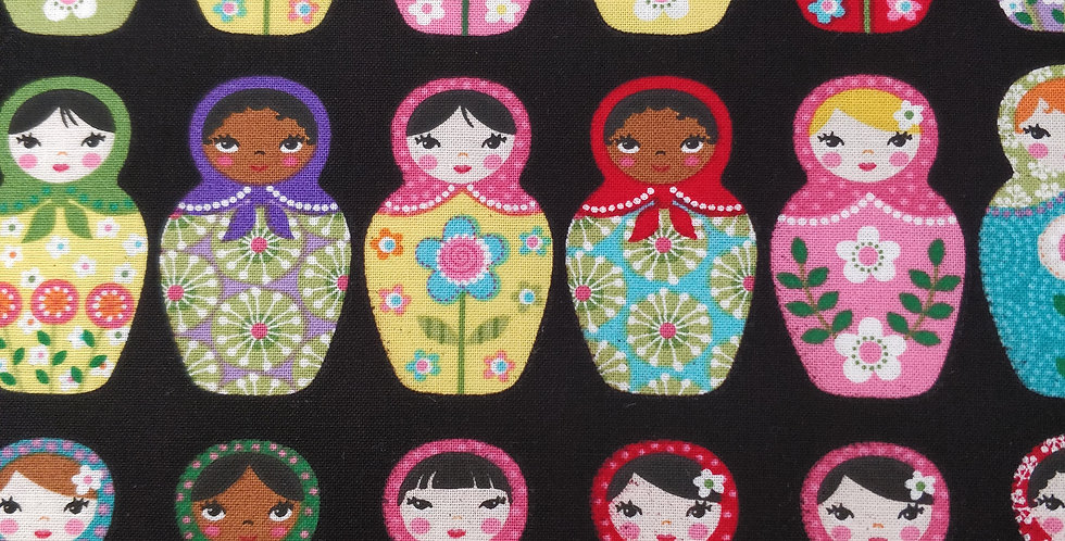 Matryoshka Russian Dolls Multicoloured Black Fabric by Robert Kaufman