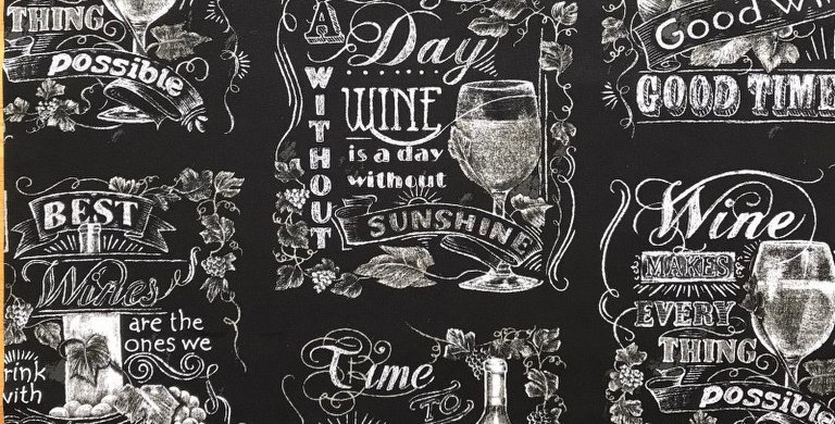 Chalk Style Wine Quotes black fabric by Robert Kaufman