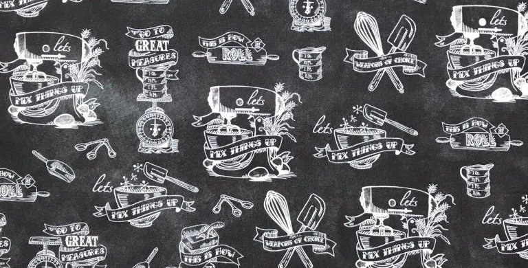 In The Kitchen chalk black fabrics by Robert Kaufman