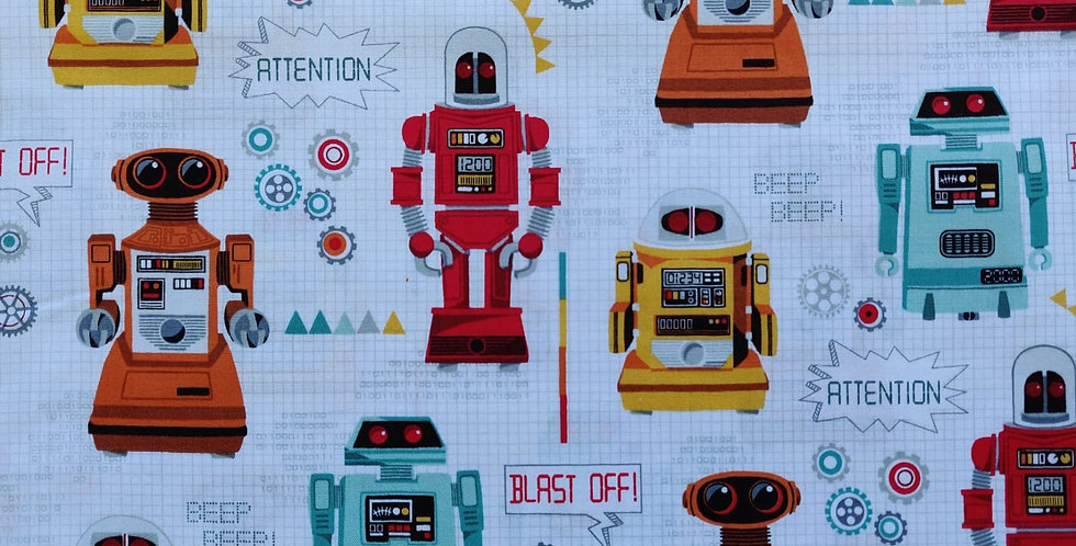 Robots children's fabric by Makower