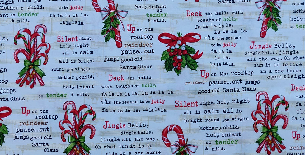 Holly Jolly Christmas ivory fabric by Robert Kaufman