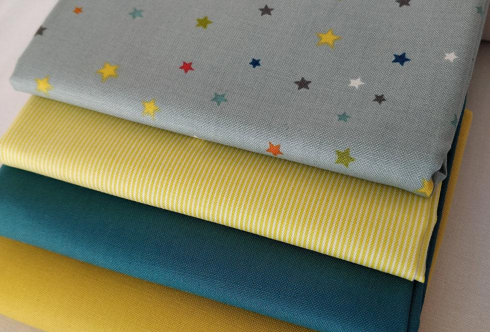 Grey/blue - Mustard/yellow star fabric bundle