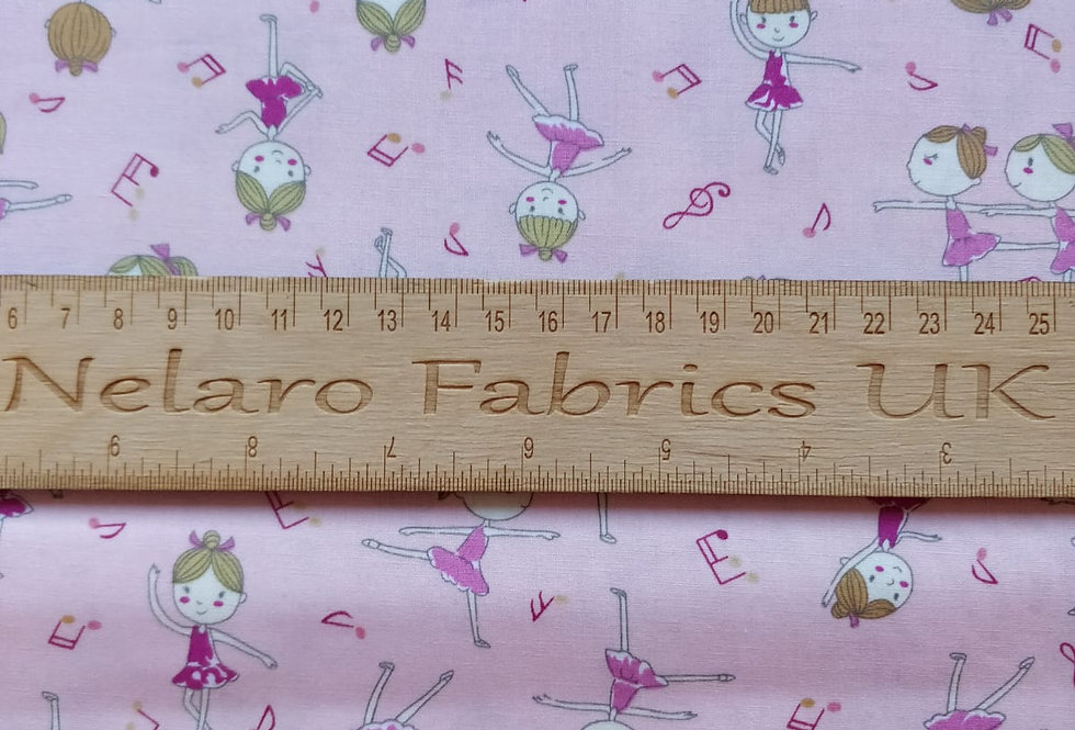 Girls Ballerina and Musical Notes pink fabric by John Louden
