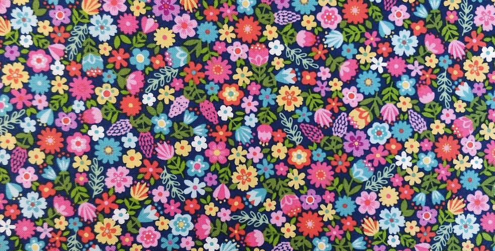 Daydream floral blue fabric by Makower