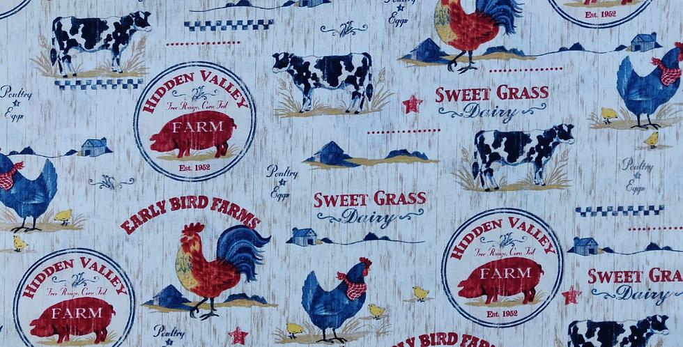 Farm Scenic Animals ivory fabric by Robert Kaufman