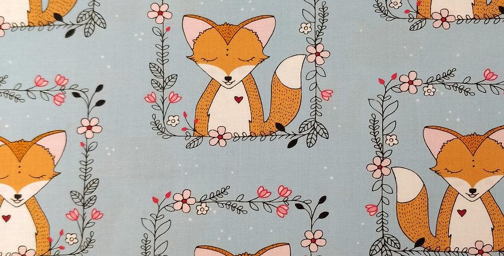 Fox Frames Light Blue Fabric by Michael Miller