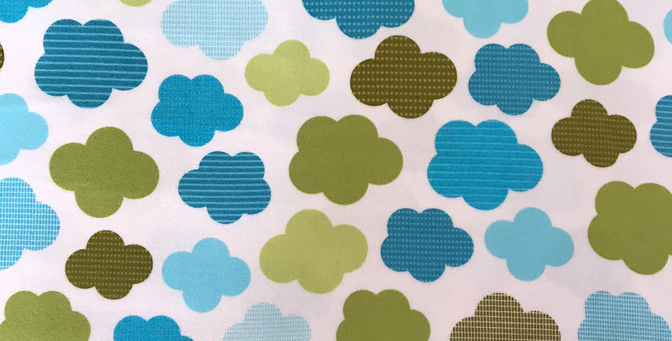 Green and blue Clouds FLANNEL fabric by Robert Kaufman