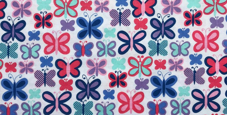 Pink and Blue Sweet Butterfly fabric by Michael Miller