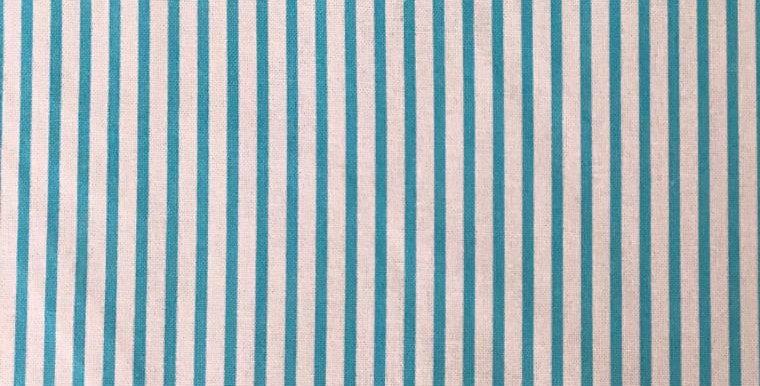 Large Stripe white/aqua fabric by John Louden