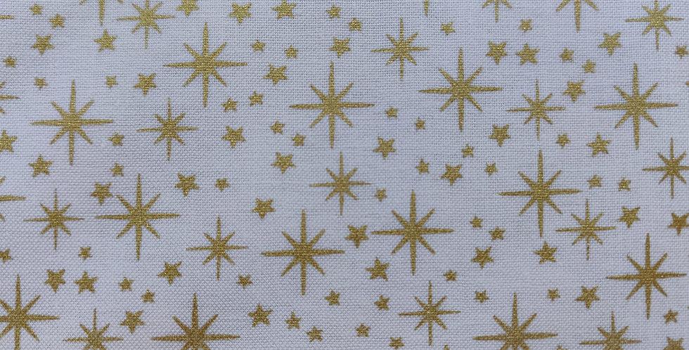 Christmas Metallic Gold Stars fabric by Makower