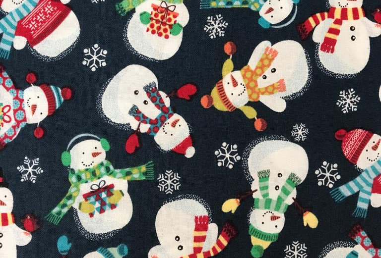 Christmas Frosty Snowmen navy blue fabric by Makower