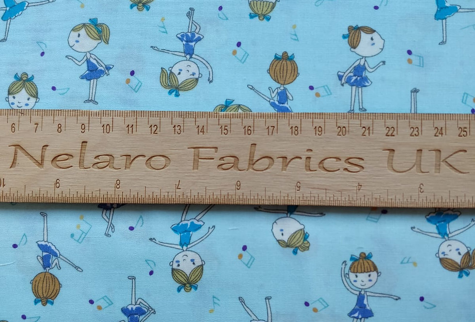 Ballerina and Musical Notes blue fabric by John Louden