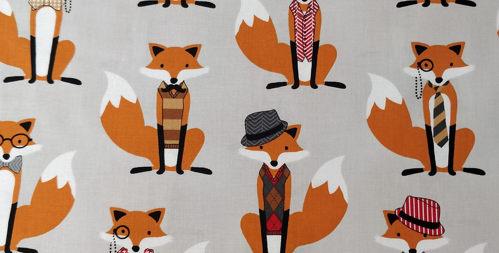 Fox and the Houndstooth Hat Tie Bow Mustache Grey and Orange Fabric by RK