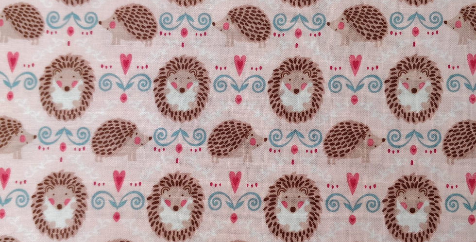 Hedge A Little Closer, Hedgehogs Pink Fabric by Michael Miller