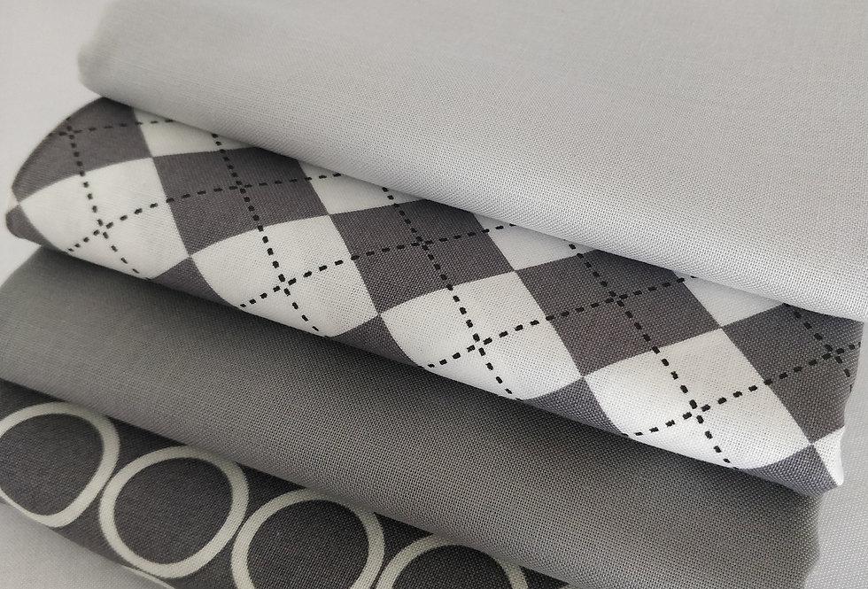 Grey fabric bundle 100% cotton fabrics