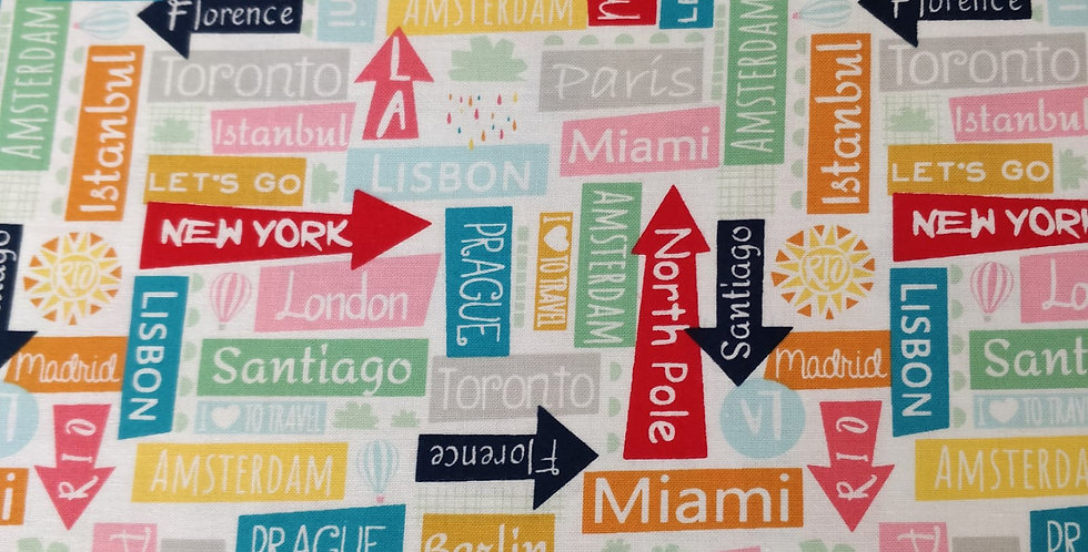 Many Directions London New York Paris Madrid Amsterdam fabric by Michael Miller