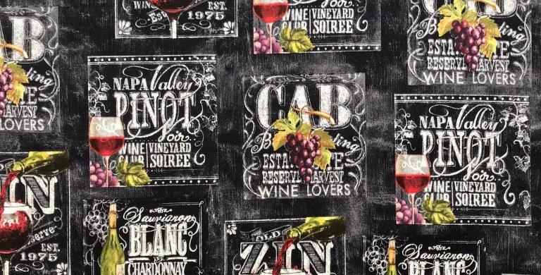 Wine List Retro chalk black fabric by Robert Kaufman