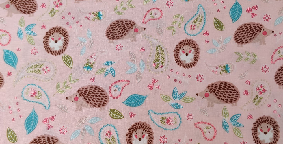 Hedge Fun Hedgehog and Flower Pink Fabric by Michael Miller