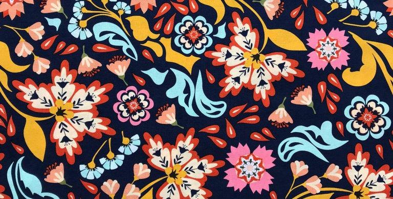 Urban Wilderness floral navy blue fabric by Robert Kaufman