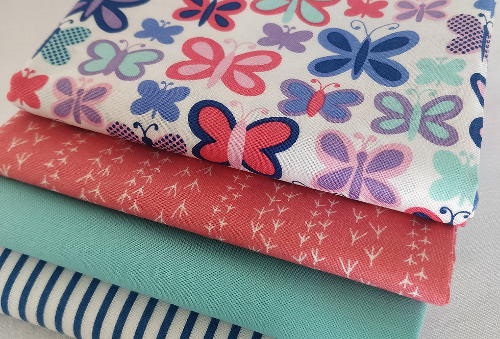 Butterfly blue and pink fabric bundle 100% cotton fabrics