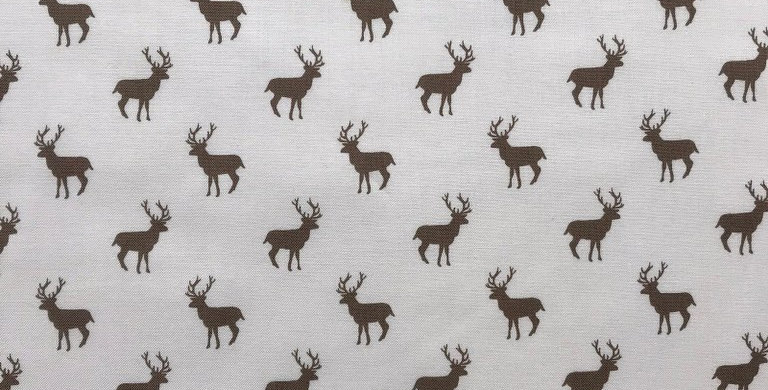 Taupe deers on natural fabric by Makower