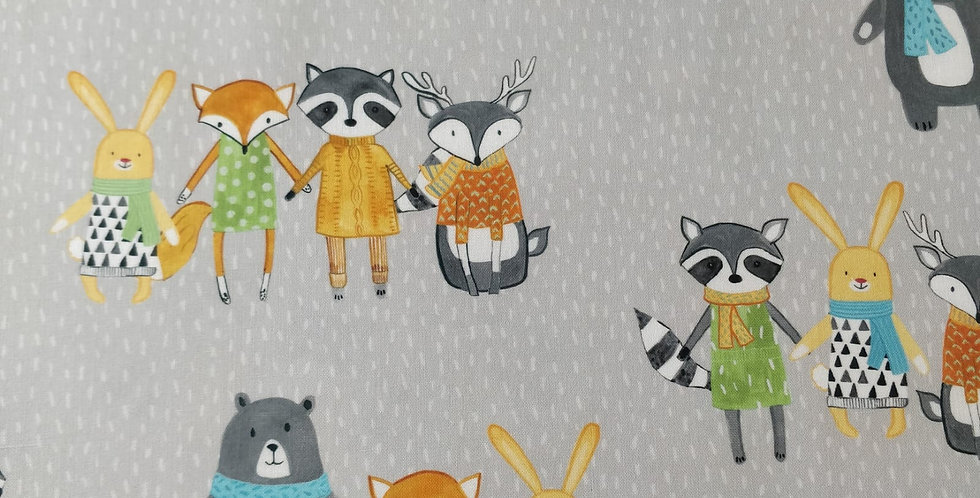 Neighbourhood Pals Bear Owl Bunny Fox Raccoon Grey Fabric by Robert Kaufman