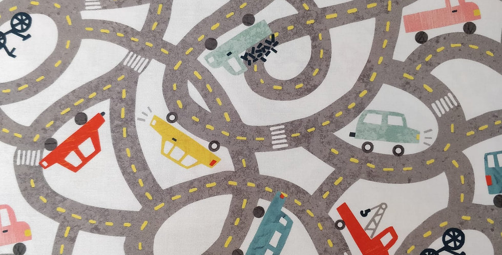 Let's Go Car Bus Bike Truck Fire Engine on a Twisted Road White Fabric by RK