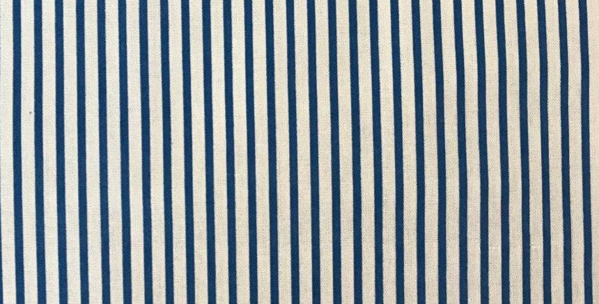 Large Stripe white/royal blue fabric by John Louden