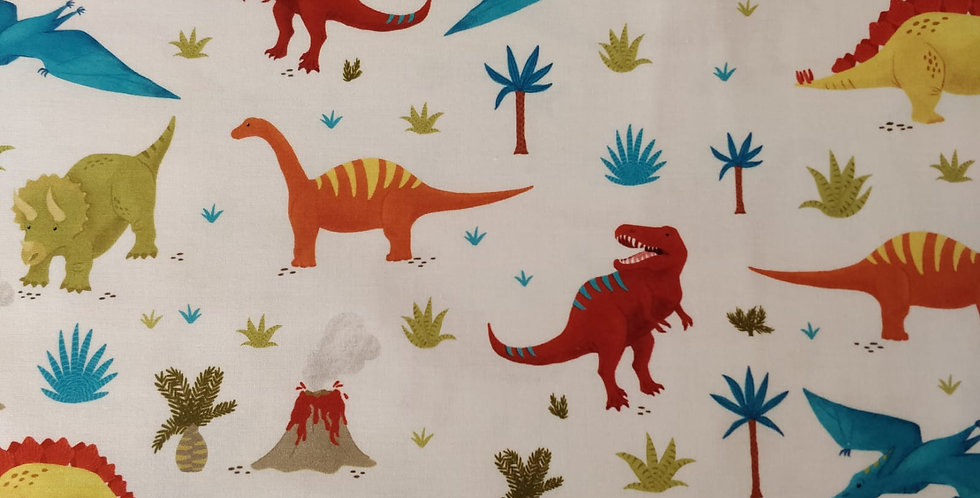 Prehistoric Adventure Dinosaur Bermuda  fabric by Robert Kaufman