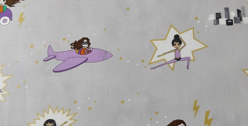 Girl Power Superhero Steel fabric by Michael Miller