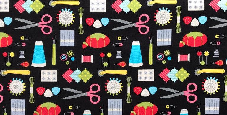 Sew Crafty black fabric by Robert Kaufman