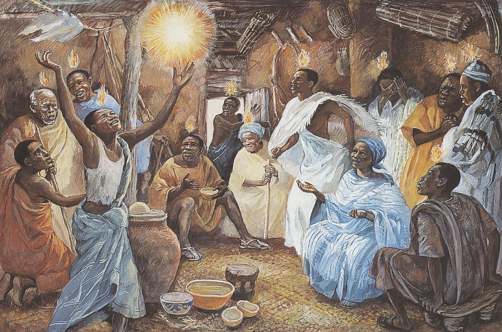 """This painting by JESUS MAFA is a response to the New Testament readings from the Lectionary by a Christian community in Cameroon, Africa. Each of the readings was selected and adapted to dramatic interpretation by the community members. Photographs of their interpretations were made, and these were then transcribed to paintings.  The exuberant expression of joy in this depiction represents the Acts story, including Mary and the women mentioned in Acts, Chapter 1. Pentecost was originally an ancient Hebrew time of thanksgiving celebration for the first grain harvest, as recorded in Leviticus. The new significance given to this day by the gospel writers and early Christians extends that joyful expression to the new """"filling up"""" by the Holy Spirit."""