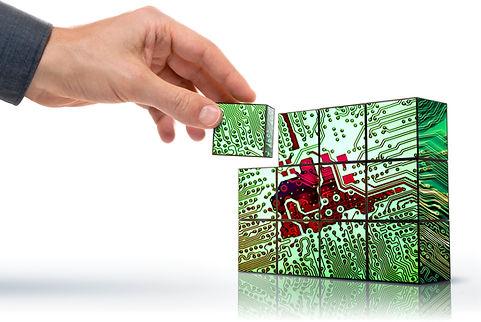 hand building up a conceptualized electr
